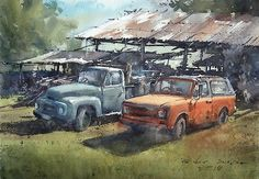 """""""Afternoon at the farm"""" (watercolor, 36x50 cm)"""