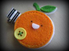 #felt #hair #clips Orange Hair Clip  Felt Orange Barrette by marymishmash on Etsy, $4.00