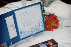 Paisley and floral wedding invitation