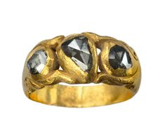 19th Century Indian Rose Cut Grey Diamond Ring, 22K Gold (in the online store)