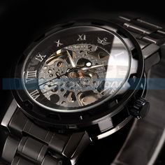 Steampunk-Mens-Roman-Dial-Transparent-Stainless-Steel-Skeleton-Mechanical-Watch