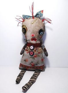 Handmade Art Doll Monster Lovie Rosette by JunkerJane on Etsy