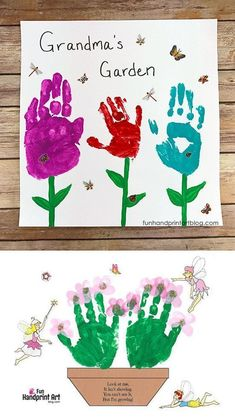 Handprint Art Discover Grandmas Garden Handprint Keepsake - so pretty! - Fun Handprint Art Make this Grandmas Garden Handprint Keepsake for Grandparents Day Mothers Day or anytime you want her to know just how awesome and special she is! Mothers Day Crafts For Kids, Crafts For Kids To Make, Craft Activities For Kids, Preschool Crafts, Kids Crafts, Baby Crafts, Toddler Crafts, Grandparents Day Activities, Grandma Crafts