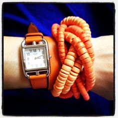Look of the Day: Braided melon coco bracelet with my fancy new orange watchband. :-)