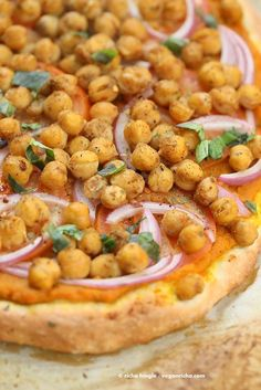 Chickpea Pumpkin Veggie Pizza with Basic Pizza crust. Pumpkin sauce spiced with herbs and spices, topped with spicy chickpeas, veggies and pepita parmesan | http://VeganRicha.com #vegan #pumpkin #chickpea #pizza #fall