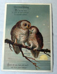 """VICTORIAN Christmas Card c.1880s """"A comfortable Couple"""" 13 x 8 approx. no pubs.. 