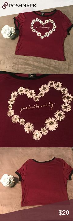 """Good Vibes Only"" graphic crop top Maroon crop top shirt with Daisy heart and ""good vibes only "" printed in cursive  -  105 hippie chic Tops Crop Tops"