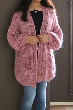 Items similar to Oversized Chunky Knit Sweater with pocket, Loose Knit, Open Style Sweater, Loose Knit, Oversized Knit Cardigan/ Bernadette-vest on Etsy - Pullover Oversized Knit Cardigan, Knit Cardigan Pattern, Loose Sweater, Scarf Styles, Cardigans For Women, Casual Tops, Winter Time, Fall Winter, Threading