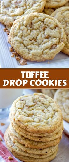Toffee Drop Cookies – Onion Rings & Things Toffee Drop Cookies are easy to make yet packs amazing flavor. Chewy, buttery, and loaded with toffee bits, they're a crowd pleaser! Toffee Cookie Recipe, Toffee Cookies, Easy Cookie Recipes, Yummy Cookies, Dessert Recipes, Toffee Bits Recipe, Buttery Cookies, Heath Bar Cookies, Cookie Flavors