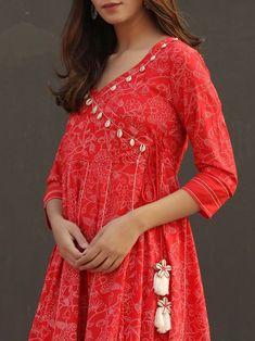 Red Floral Printed Cotton Angrakha Anarkali Suit with Off White Checkered Mulmul Dupatta - Set of 3 Pakistani Fashion Casual, Pakistani Dresses Casual, Pakistani Dress Design, Casual Dresses, Fashion Dresses, Emo Fashion, Frock Fashion, Linen Dresses, Indian Fashion
