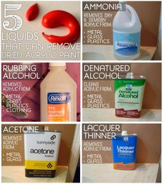 '5 Liquids That Can Remove Dried Acrylic Paint From Surfaces...!' (via FeltMagnet)