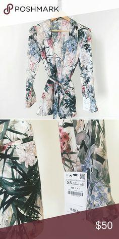 NWT Zara Floral Blazer with Tie Totally new and unworn, no wear/tear/stains. Zara Jackets & Coats Blazers