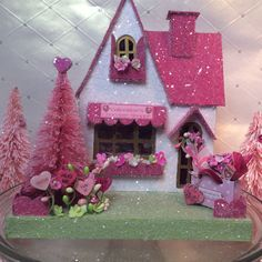 Valentines Putz House Chocolate Shop (Large) in White and Pink OOAK Valentine Decorations, Valentine Crafts, Be My Valentine, Valentine Ideas, Valentine Party, House Decorations, Christmas Decorations, Christmas Home, Christmas Ornaments