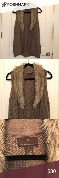 Fenn Wright Manson Faux Fur Sleeveless Sweater M In great pre-owned condition. Only wear is some light fuzzing and pilling on the knit sweater part. Size M. Anthropologie Sweaters
