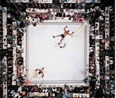 blazepress:  Aerial Shot of Muhammed Ali after knocking out Cleveland Williams in 1966.