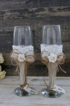 Wedding Glasses Toasting Flutes Champagne Glasses Burlap and Lace Glasses Rustic…