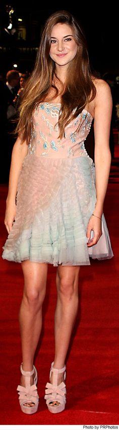 Shailene Woodley Wearing Christian Dior Pink Blue Dress - The Descendants Premiere - 10/20/2011