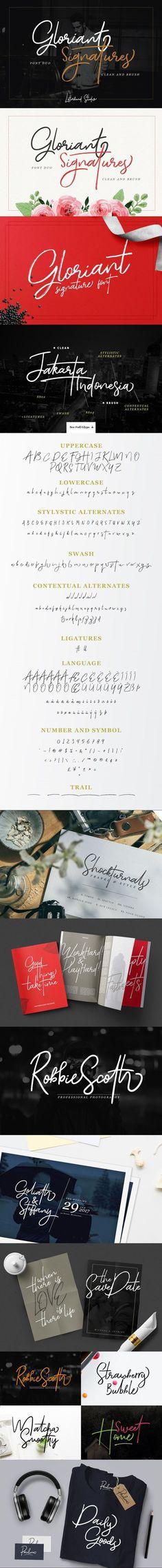 Gloriant Signature Script #handwriting #ttf #logotype #lettering #newyear #WeddingDesign #fontduo #wedding #opentypefont #newyear #card #clean #quote #elegant #CalligraphicFont #popular #rough #feminine #scriptfont Cursive Fonts, Calligraphy Fonts, Typography Fonts, Typography Design, Lettering, Wedding Fonts, Wedding Invitations, Truetype Fonts, Vintage Fonts