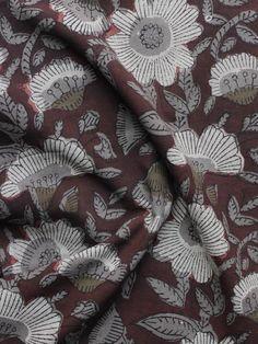 Reddish Brown Ivory Grey  Hand Block Printed Cotton Fabric Per Meter - F001F1136  #fabric #Buyfabric #Onlinefabric #Newfabric #Buyonlinefabric #Shopfabric #Cottonfabric #blockprint #fabrics  #naturaldye #traditionalart #ethnic  #fashion #style #tyeanddye #New #indubindu