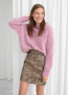 3d3e463d2 And other stories High Waisted Leather Skirt Skirt Outfits, Fall Outfits,  Pink Snake,