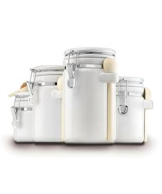 Another great find on #zulily! White Clamp-Top Canister Set #zulilyfinds SOMETHING LIKE THIS WOULD BE COOL...