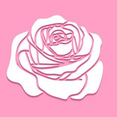 Vector beautiful cutout paper rose flower floral icon on pink background