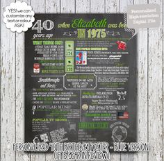 Personalized 40th Birthday Poster, 1975 Events, 1975 Year in Review - greens version - Milestone Birthday, High Resolution Digital File by ChloeEtAmelie on Etsy https://www.etsy.com/listing/215058800/personalized-40th-birthday-poster-1975