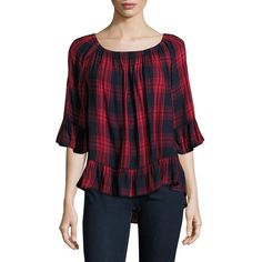 Beach Lunch Lounge Plaid Ruffled Top ($29) ❤ liked on Polyvore featuring tops, navy red, plaid top, 3/4 length sleeve tops, navy blue top, ruffle hem top and raglan top