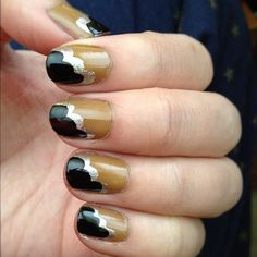 Black, tan and silver cloud nails