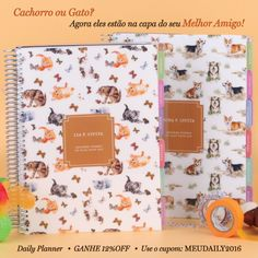Cachorro ou Gato? Agora eles estão na capa do seu melhor amigo! Compre online - www.paperview.com.br • Receba em casa #meudailyplanner #planner2016 #dailyplanner #loveplanner #organização #feitoamao #trend