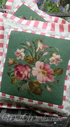 Vintage and Salvaged Needlepoint Pillows and Slips Home of the original Heirloom Needlepoint Pumpkin (tm) Needlepoint Stockings, Needlepoint Pillows, Needlepoint Kits, Cross Stitch Pillow, Cross Stitch Embroidery, Hand Embroidery Designs, Embroidery Patterns, Sewing Crafts, Sewing Projects
