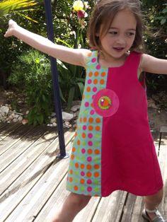 robe fillette poisson en coton fushia et vert : Mode filles par boule2gomme