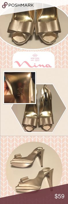 NWTs Nina Women's Slingback Satin Pumps With Bows Attention all BOW lovers! Can't find these anywhere! 10M Gold/Champagne. Roughly 4 inch heels. Perfect for a special occasion, event, or just because. Originally bought these to wear with my wedding dress, but ended up needing a bright white pair instead. Markings on bottom are from trying on indoors. Slight discoloration on edge of straps from time in storage. Great addition to any fashionista's closet...kinda sad to post these but Im sure…