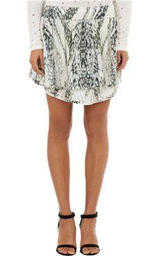 Abstract-Print Chiffon Mini Skirt
