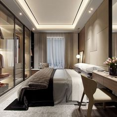 Affordable Apartment Ceiling Design Ideas That Inspiring 12 Beige Walls Bedroom, Master Bedroom Interior, Home Bedroom, Modern Bedroom, Hotel Bedroom Decor, Hotel Inspired Bedroom, Hotel Room Design, Apartment Interior, Apartment Design