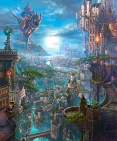 flying ship and fantasy city // Разное: Kazumasa Uchio