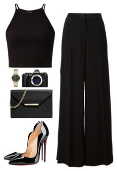 """Blackchic"" by nabilayunita on Polyvore featuring Roberto Cavalli, Christian Louboutin, MICHAEL Michael Kors, Marc by Marc Jacobs and Olympus"