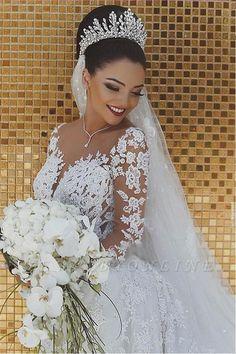 Glamorous Long Sleeves Wedding Dress  Mermaid Lace Bridal Gowns UQW0021 #WeddingDress #BridalGowns Cheap Lace Wedding Dresses, Mermaid Wedding Dress With Sleeves, Amazing Wedding Dress, Long Sleeve Wedding, Elegant Wedding Dress, Mermaid Dresses, Bride Dresses, Dress Wedding, Tulle Wedding