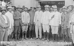"""General Obregon and his Staff, Obregon was the second in command of the """"Ejercito Constitucionalista"""". He was President of Mexico also."""