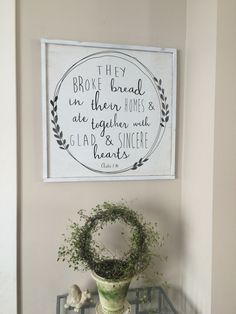 24x24 They Broke Bread Acts. 2:46 * bible verse * kitchen decor * scripture art * dining room * Christian art * Christian decor - pinned by pin4etsy.com