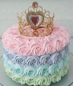 14th Birthday Cakes, Tea Party Birthday, Birthday Cake Girls, Princess Theme Cake, Disney Princess Birthday Cakes, Cupcakes Princesas, Bolo Rapunzel, Simple Birthday Decorations, Cloud Cake