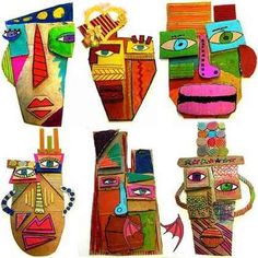25 Picasso Inspired Art Projects For Kids cardboard masks                                                                                                                                                                                 More<br> These art project are perfect for the art lover in your life! Art is a great way for kids to communicate, to explore their world, and to build a better understanding of their own creativity. These 25 Picasso Inspired Art Projects for Kids are a great… Kunst Picasso, Art Picasso, Projects For Kids, Diy For Kids, Art Projects, Cardboard Mask, Creative Self Portraits, Self Portrait Art, Masks Art