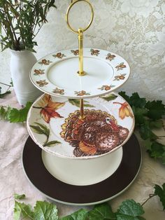 Three Tier Vintage Plate Autumn Thanksgiving Fall Cake Dessert Stand by VintagePartyPlanner on Etsy https://www.etsy.com/listing/471288215/three-tier-vintage-plate-autumn