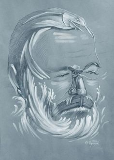 """Ernest Hemingway in an optical delusion of his novel..........."""" The old Man and the sea -- """""""