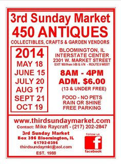 3rd Sunday Market in Bloomington, Illinois! Yippee, it's the 3rd Sunday this weekend!