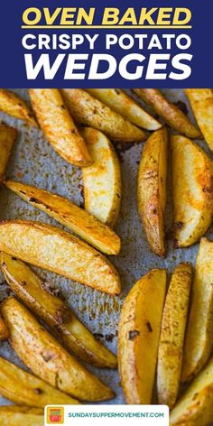 Baked crispy potato wedges are a food everyone loves! Soft on the inside and crispy outside, with a coating of simple seasoning, these baked potato wedges are a healthier choice than fries and just as tasty. Crispy Baked Potato Wedges, Roasted Potato Wedges, Potato Wedges Recipe, Crispy Potatoes, Fun Easy Recipes, Easy Meals, Bison Burger Recipe, Best Potato Recipes, Favorite Recipes