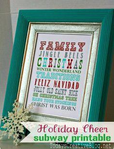 Holiday Cheer Subway Art - Over 50 Creative Christmas Printables Collection