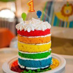 "Rainbow ""smash"" cake for 1st birthday party!"