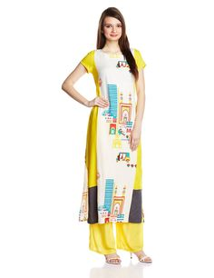 W for Woman Women's Multi Color Rayon Straight Kurta    Material: Rayon Colour : Multi Coloured Casual wear kurta Round Neck and half sleeve Straight fit, Calf length Wash dark color separately, do not bleach, dry in shade, inside out, hot iron