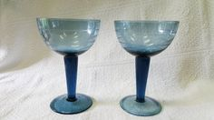 Vintage Blue Etched Swirl Thick Stemmed Champagne/Sherbert Glasses From The 50's or 60's Set of 2, Great Condition by ShabbyCandleAntiques on Etsy